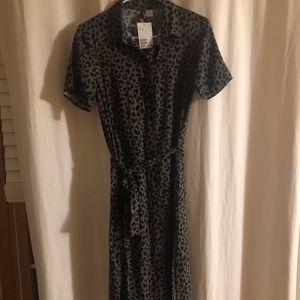 H&M Green Khaki + Black Printed Dress